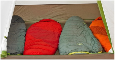 Kelty tent with sleeping bags